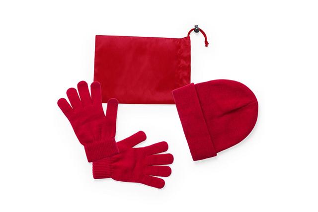 Комплект ръкавици и шапка в торбичка